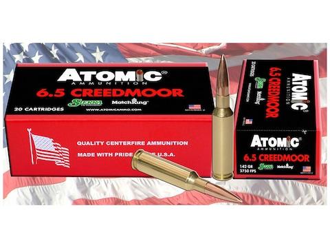 Atomic Ammunition 6.5 Creedmoor 142 Grain Sierra MatchKing Hollow Point Boat Tail Box o...