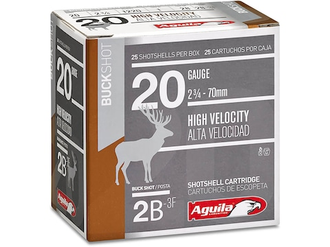 "Aguila High Velocity Ammunition 20 Gauge 2-3/4"" #2 Buckshot 15 Pellets"