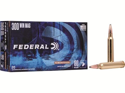 Federal Power-Shok Ammunition 300 Winchester Magnum 180 Grain Speer Soft Point Box of 20