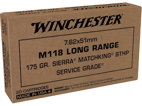 Winchester Service Grade Long Range Ammunition 7.62x51mm NATO 175 Grain M118 Sierra Mat...