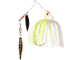 Strike King Baby Burner Double Willow Spinnerbait 1/4oz Chartreuse White Nickel/Gold
