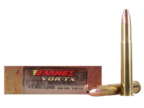 Barnes VOR-TX Safari Ammunition 470 Nitro Express 500 Grain TSX Hollow Point Flat Base ...