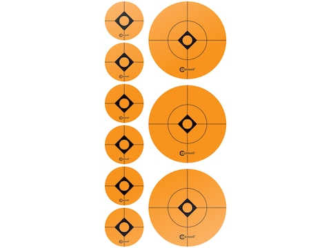 """Caldwell Shooting Spots Combo Pack 12 Sheets 36 2"""" and 72 1"""" Spots Orange"""