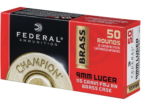 Federal Champion Ammunition 9mm Luger 115 Grain Full Metal Jacket