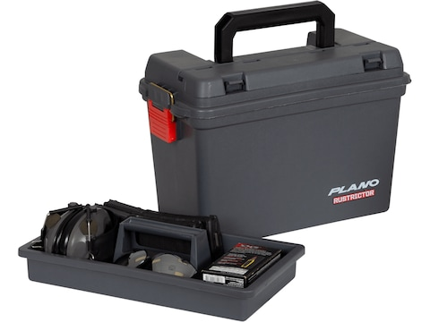 Plano Rustrictor Ammo Case with Tray Polymer Gray