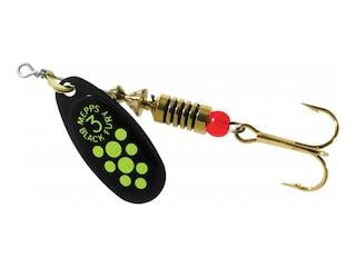 Mepps Aglia Black Fury Plain Inline Spinner Black & Chartreuse Dots 1/4 oz