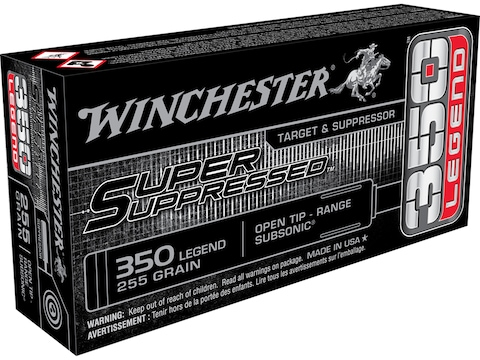 Winchester Super Suppressed Ammunition 350 Legend Subsonic 265 Grain Open Tip
