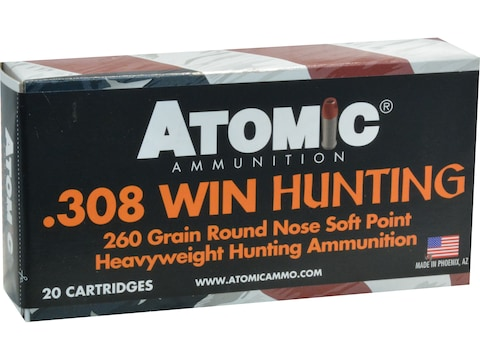 Atomic Hunting Ammunition 308 Winchester 260 Grain Expanding Round Nose Soft Point Box ...
