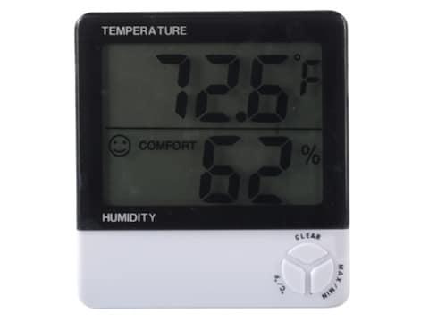 HySkore Digital Hygrometer Polymer Black and White