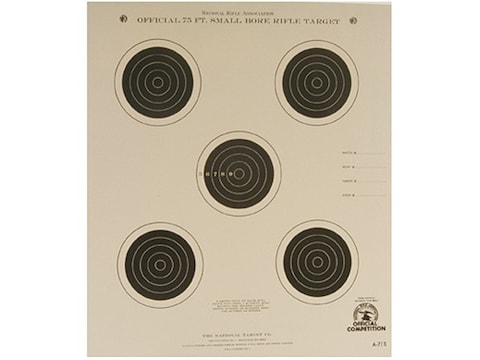 NRA Official Smallbore Rifle Targets A-7/5 75' 4 Postion Paper Package of 100