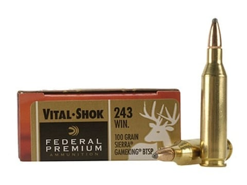 Federal Premium Ammunition 243 Winchester 100 Grain Sierra GameKing Soft Point Boat Tai...