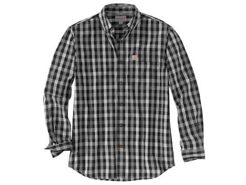 Carhartt Men's Essential Plaid Button-Up Long Sleeve Shirt Cotton Poplin