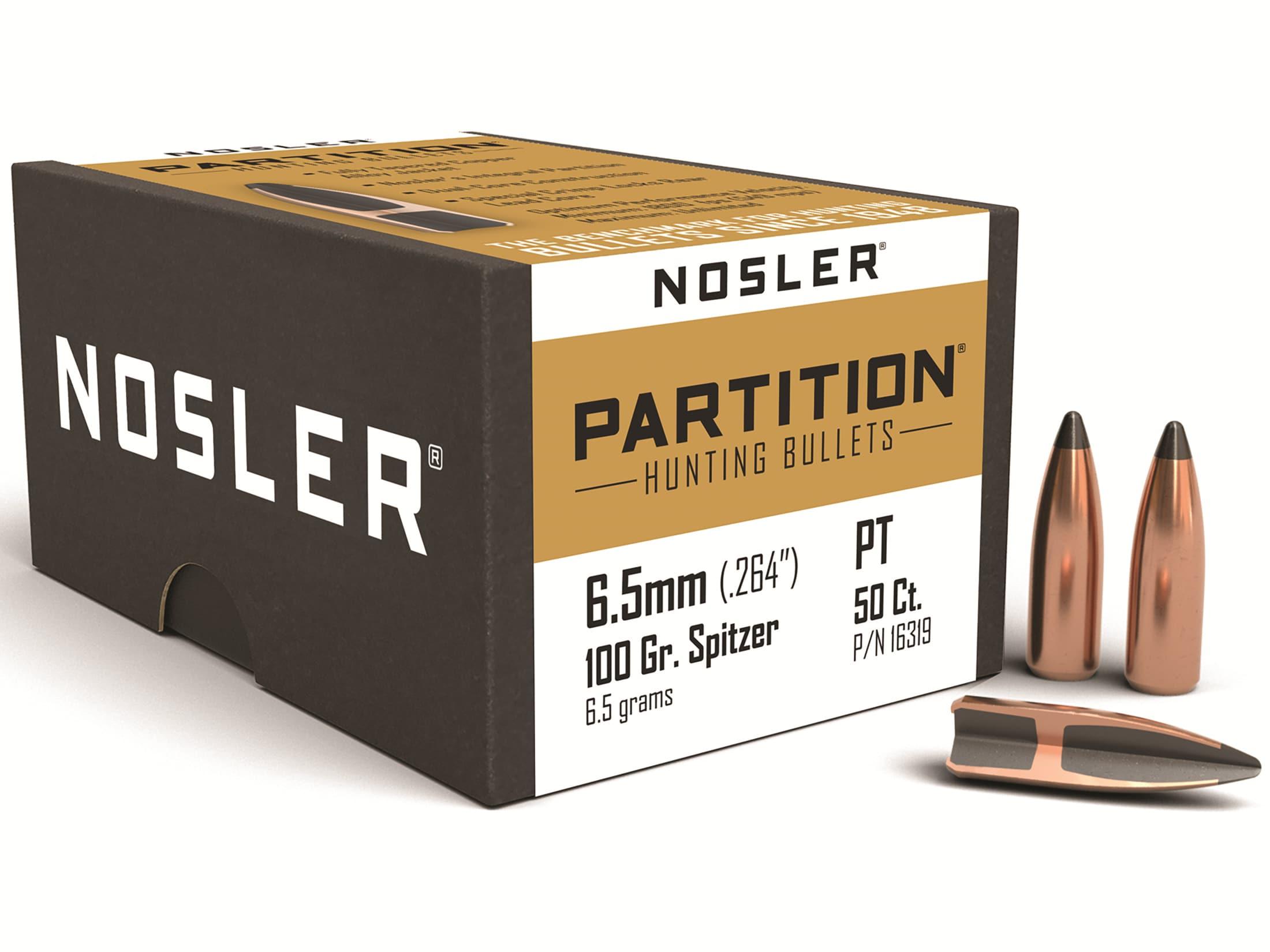 Nosler Partition Bullets 264 Cal 6 5mm (264 Diameter) 100 Grain