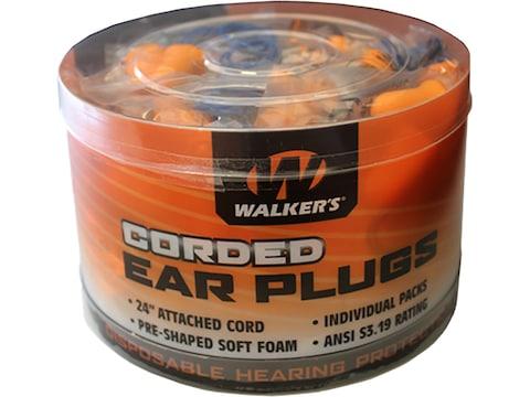 Walker's Corded Foam Ear Plugs (NRR 32 dB) Bucket of 50 Individually Packaged Pairs Orange