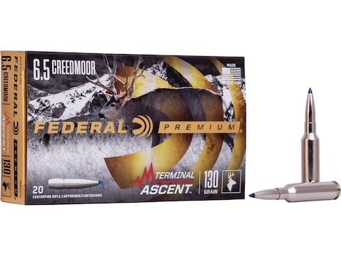 Federal Premium Terminal Ascent Ammunition 6.5 Creedmoor 130 Grain Polymer Tip Bonded B...