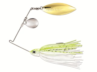 Terminator Pro Series Tandem Spinnerbait 3/8oz Chartreuse and White Shad Nickel/Gold