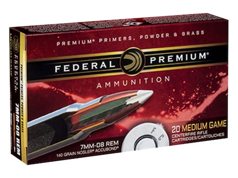 Federal Premium Ammunition 7mm-08 Remington 140 Grain Nosler Accubond Box of 20