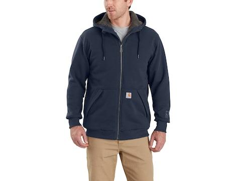 Carhartt Men's Rain Defender Rockland Sherpa-Lined Full-Zip Hooded Sweatshirt Cotton/Po...