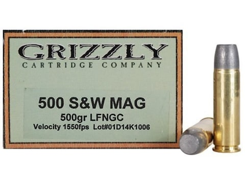 Grizzly Ammunition 500 S&W Magnum 500 Grain Lead Long Flat Nose Gas Check Box of 20
