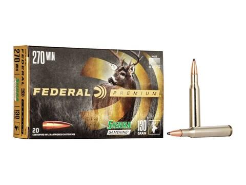 Federal Premium Ammunition 270 Winchester 130 Grain Sierra GameKing Soft Point Boat Tai...