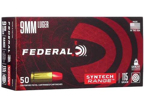 Federal Syntech Range Ammunition 9mm Luger 115 Grain Total Synthetic Jacket