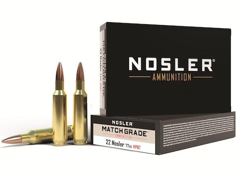Nosler Match Grade Ammunition 22 Nosler 77 Grain Custom Competition Hollow Point Boat T...