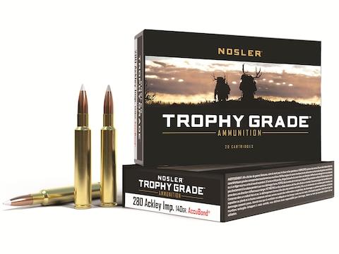 Nosler Trophy Grade Ammunition 280 Ackley Improved 140 Grain AccuBond Box of 20