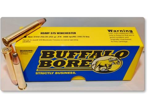 Buffalo Bore Ammunition 375 Winchester 255 Grain Jacketed Flat Nose Box of 20