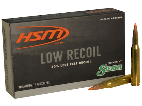 HSM Low Recoil Ammunition 270 Winchester 130 Grain Sierra Tipped Spitzer Boat Tail Box ...