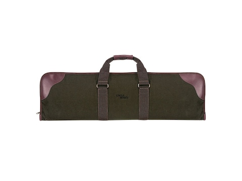 """Uncle Mike's Over and Under Shotgun Case 33- 1/2"""" Polyester Twill Green and Leather Brown"""