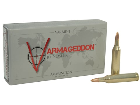 Nosler Varmageddon Ammunition 17 Remington 20 Grain Hollow Point Flat Base Box of 20