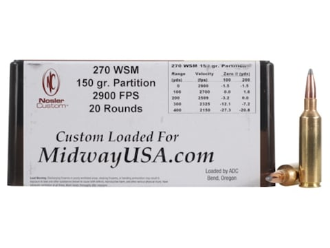 Nosler Custom Ammunition 270 Winchester Short Magnum (WSM) 150 Grain Partition Box of 20