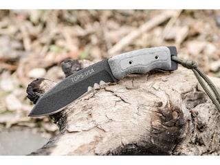 "TOPS Knives Mini Eagle Fixed Blade Knife 3"" Drop Point 1095 High Carbon Alloy Blade Linen Micarta Handle Black"