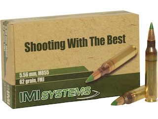 IMI Ammunition 5.56x45mm NATO 62 Grain M855 SS109 Penetrator Full Metal Jacket Boat Tail Box of 30