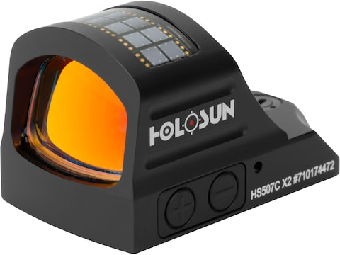 Holosun HS507C-X2 Reflex Sight 1x Selectable Red Reticle Picatinny-Style Mount Solar/Ba...