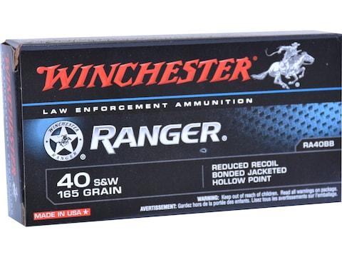Winchester Ranger Ammunition 40 S&W 165 Grain Bonded Hollow Point Box of 50