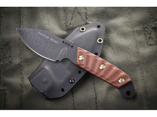 """TOPS Knives Shadow Rider Fixed Blade Knife 3.25"""" Drop Point 1095 High Carbon Alloy Blade Canvas Micarta Handle Tan"""