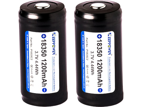 KeepPower Rechargeable Battery 18350 3.7 Volt Lithium 1200 mAh Package of 2
