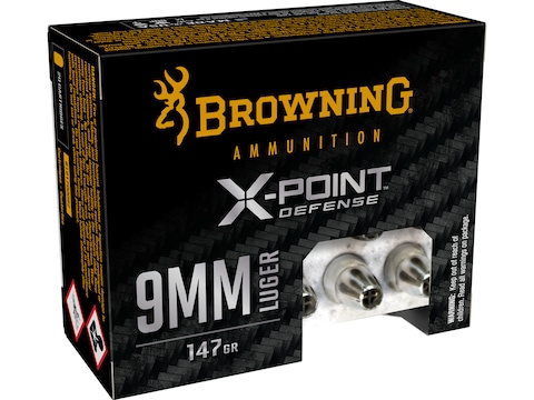 Browning X-Point Defense Ammunition 9mm Luger 147 Grain Jacketed Hollow Point Box of 20