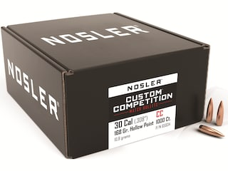 Nosler Custom Competition Bullets 30 Caliber (308 Diameter) 168 Grain Hollow Point Boat Tail Box of 1000