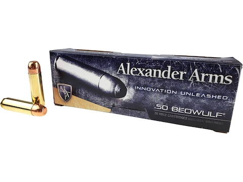 Alexander Arms Ammunition 50 Beowulf 350 Grain Plated Round Shoulder Box of 20
