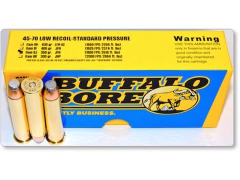 Buffalo Bore Ammunition 45-70 Government 350 Grain Jacketed Flat Nose Low Recoil Standa...