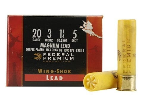 Federal Premium Wing-Shok Ammunition 20 Gauge Buffered Copper Plated Shot