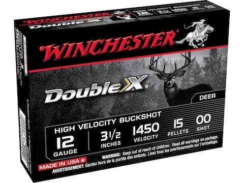"Winchester Double X Ammunition 12 Gauge 3-1/2"" Buffered 00 Copper Plated Buckshot 15 Pe..."