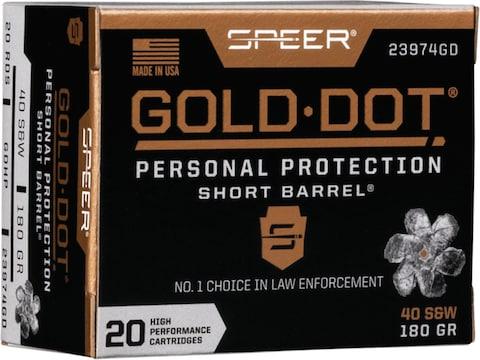 Speer Gold Dot Short Barrel Ammunition 40 S&W 180 Grain Jacketed Hollow Point Box of 20
