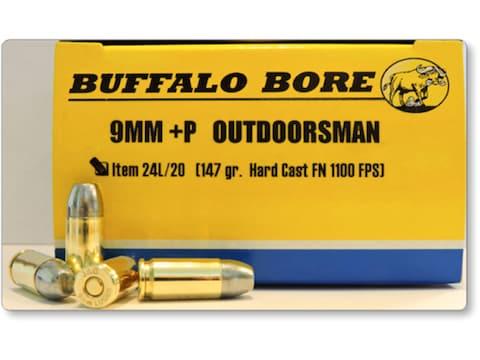 Buffalo Bore Ammunition Outdoorsman 9mm Luger +P 147 Grain Hard Cast Lead Flat Nose Box...