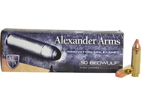 Alexander Arms Ammunition 50 Beowulf 300 Grain Hornady FTX Box of 20