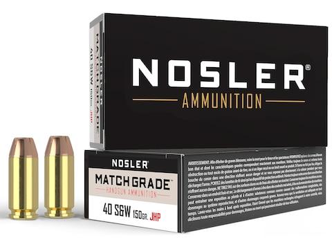 Nosler Match Grade Ammunition 40 S&W 150 Grain Jacketed Hollow Point