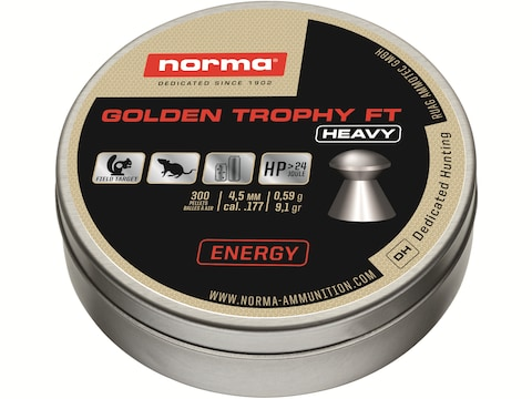 Norma Golden Trophy Heavy FT Air Gun Pellets 177 Caliber 9.1 Grain Round Nose Pack of 300