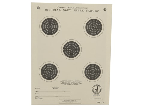 NRA Official Smallbore Rifle Training Targets TQ-1/5 50' Paper Package of 100